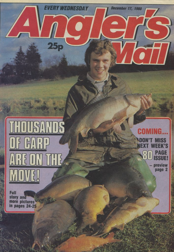 history lake 1980 front page Anglers Mail moving carp from Fishers Green to WVL & Homersfield copy